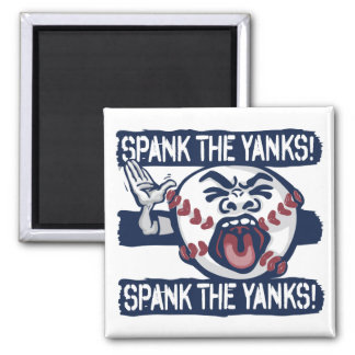 Spank the Yanks Outrageous Baseball 2 Inch Square Magnet