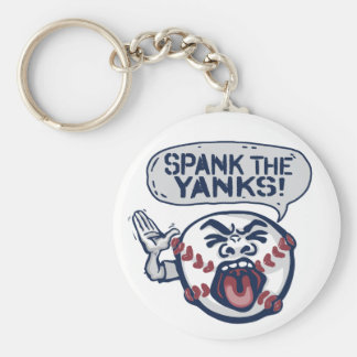 Spank the Yanks Outrageous Baseball Basic Round Button Keychain