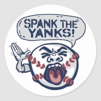 Spank the Yanks Outrageous Baseball Classic Round Sticker