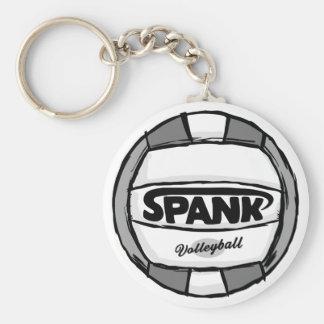 Spank Volleyball Black Basic Round Button Keychain