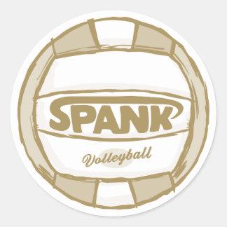 Spank Volleyball Gold Round Stickers