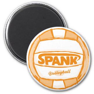 Spank Volleyball Orange 2 Inch Round Magnet