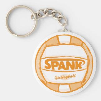 Spank Volleyball Orange Basic Round Button Keychain