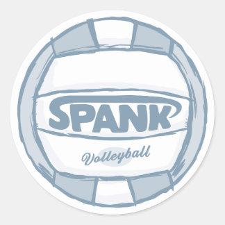 Spank Volleyball Round Stickers