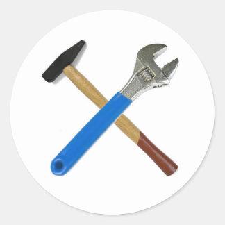 spanner hammer classic round sticker