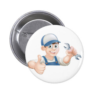 Spanner man over sign thumbs up buttons