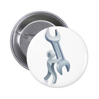 Spanner wrench man pinback button