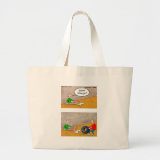 Spare Change: Offbeat Funny Cartoon Gifts & Tees Large Tote Bag