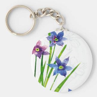 Sparing Blue Floral Basic Round Button Keychain