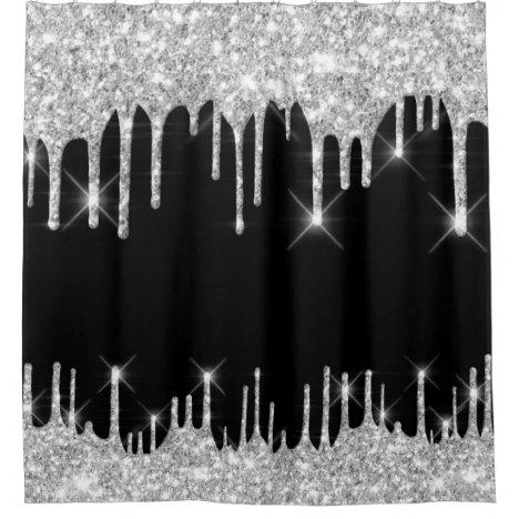 Spark Drips Glitter Effect Black Silver Gray Shower Curtain