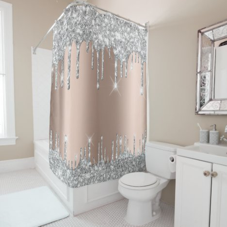 Spark Drips Glitter Effect Rose Silver Gray Shower Curtain