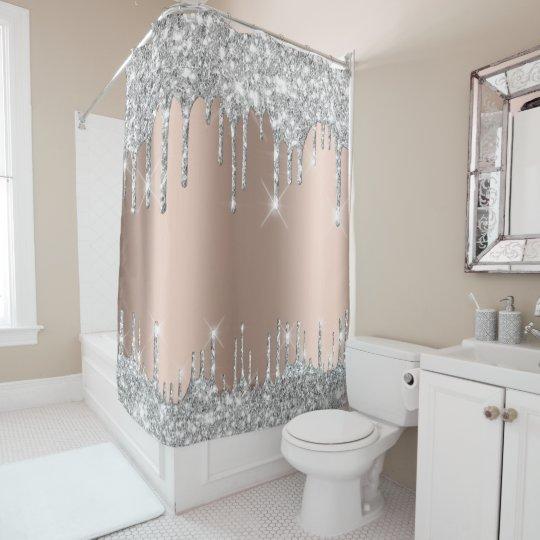 spark drips glitter effect rose silver gray shower curtain zazzle com