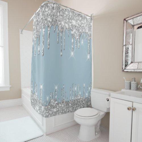 Spark Drips Glitter Effect Smoky Blue Silver Gray Shower Curtain