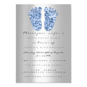 Spark Glitter Baby Shower Feet Blue Silver Invitation