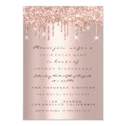 Spark Glitter Drips Rose Gold  Bridal Sweet 16th Invitation at Zazzle