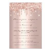 Spark Glitter Drips Rose Gold Bridal Sweet 16th Invitation