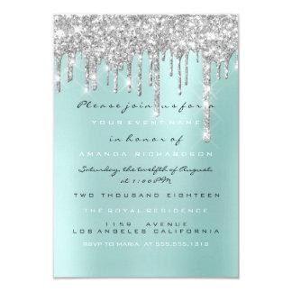 Spark Glitter Drips Silver Aqua  Bridal Sweet 16th Invitation