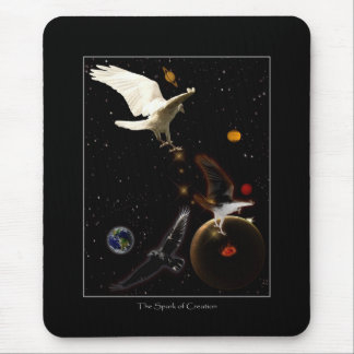 """Spark of Creation"" White Raven Gifts Mouse Pad"
