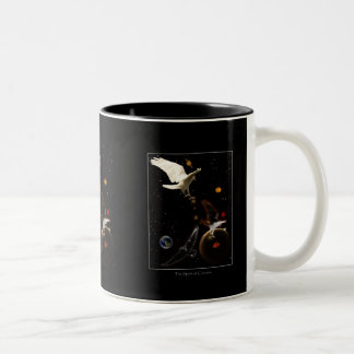 """Spark of Creation"" White Raven Gifts Two-Tone Coffee Mug"
