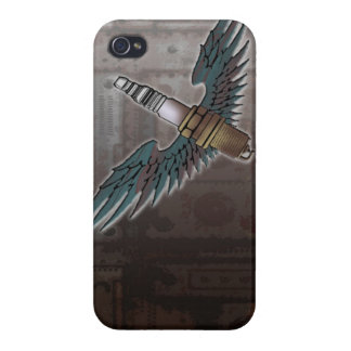 spark plug with wings cool fun engine car combusti iPhone 4/4S cover