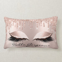 Spark Rose Gold Drips Makeup Lashes Hello Gorgeous Lumbar Pillow