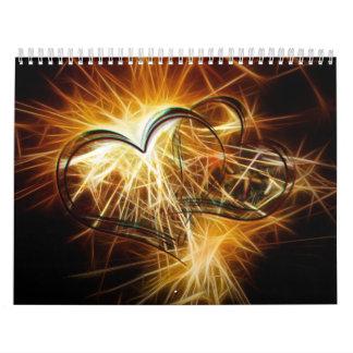 Sparking golden hearts wall calendars