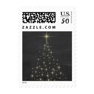 Sparking Lights Gold Christmas Tree Postage