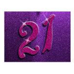 Sparkle 21st Pink and Purple Birthday Postcard