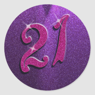 Sparkle 21st Pink and Purple Birthday Stickers