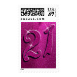 Sparkle 21st Pink Birthday Party Postage Stamps
