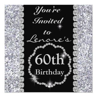 Sparkle 60th  Birthday Party Black & Silver Invita Card