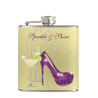 Sparkle and Shine All The Time Girly Hip Flask