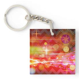 Sparkle and Shine Chevron Light Rays Abstract Acrylic Keychain