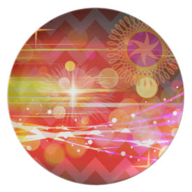 Sparkle and Shine Chevron Light Rays Abstract Plate