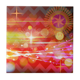 Sparkle and Shine Chevron Light Rays Abstract Ceramic Tiles