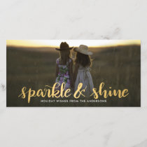 Sparkle And Shine Gold Script Modern Holiday Photo