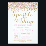 "Sparkle and Shine Pink Gold Birthday Invitation<br><div class=""desc"">Sparkle and Shine Birthday Invitation. Pink and Gold Glitter. Confetti. Gold Glitter Glam Birthday Invite. Girl Bday. 1st First Birthday. 1st 2nd 3rd 4th 5th 6th 7th 8th 9th 10th,  Any Ages. For further customization,  please click the ""Customize it"" button and use our design tool to modify this template.</div>"
