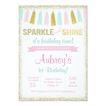 StyleswithCharm Sparkle and shine pink gold birthday invitation