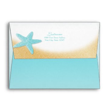 Beach Themed Sparkle Beach Gold and Aqua Starfish and Shells Envelope
