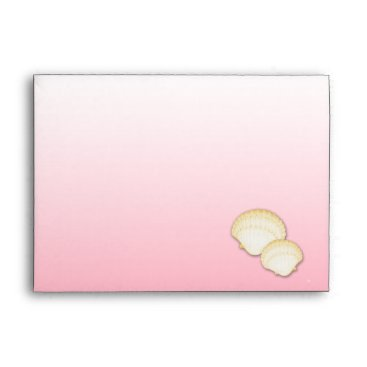 Beach Themed Sparkle Beach Gold Starfish and Shells Envelope
