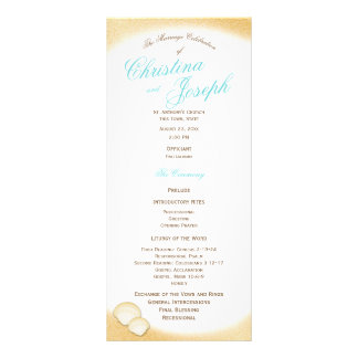 Sparkle Beach Golden Seashell Wedding Program