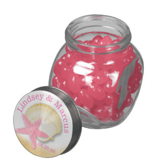 Sparkle Beach Pink Starfish and Gold Seashell Glass Jars