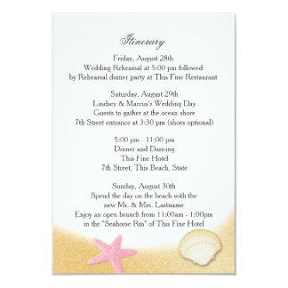 Sparkle Beach Seashell Pink Wedding Intinerary Card