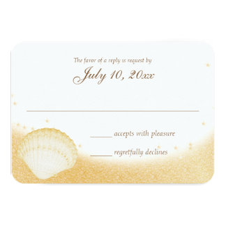 Sparkle Beach Seashelle Wedding Response Card