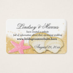 Sparkle Beach Wedding Information Cards at Zazzle