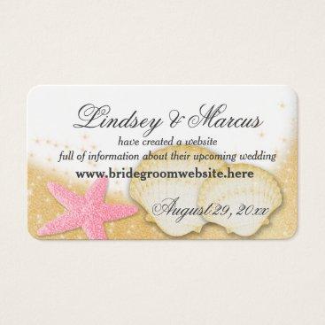 Beach Themed Sparkle Beach Wedding Information Cards