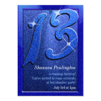 Sparkle Blue 13th Birthday Party Invitations