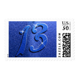 Sparkle Blue 13th Birthday Party Postage Stamps