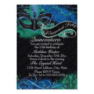 Sparkle Blue & Green Mask Masquerade Quinceanera 5x7 Paper Invitation Card