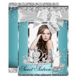 Sparkle Bow Tiara Photo Sweet 16 Invitation